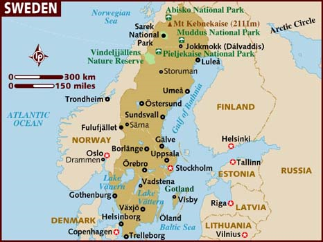 map of Sweden Scandinavia